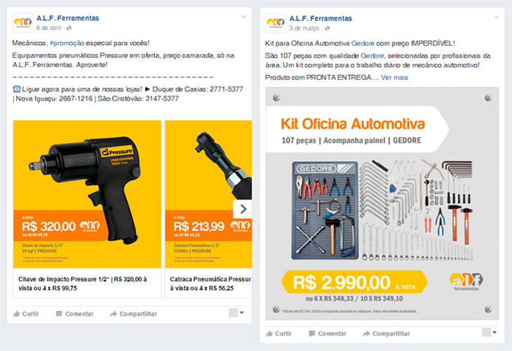 Facebook: marketing digital da A.L.F. Ferramentas