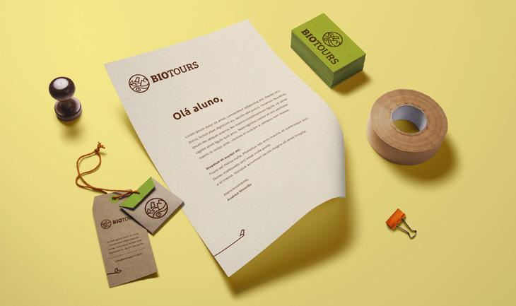 identidade visual aplicação papelaria biotours