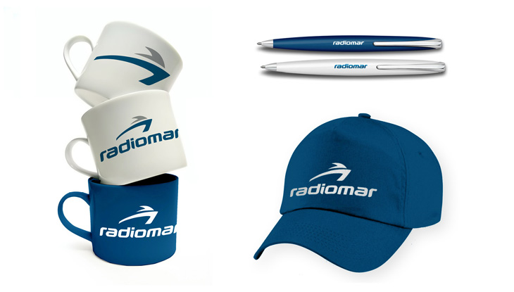 Logotipo Radiomar - aplicação da identidade visual em materiais promocionais